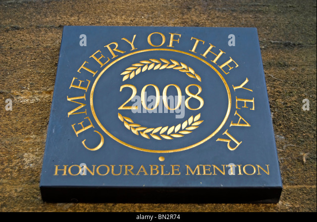 cemetery of year 2008 honourable mention plaque at east sheen cemetery, east sheen, surrey, england - Stock Image