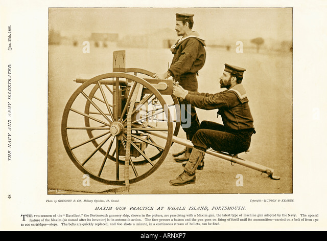 Naval Gun Practice with a Maxim gun at the Naval gunnery school on Whale Island Portsmouth in 1896 - Stock Image