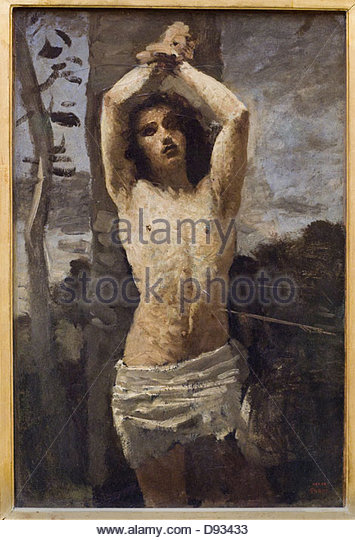 Camille Corot Saint-Sebastien 1850-1855 French school Louvre Museum - Paris - Stock-Bilder