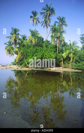 Costa Rica caribbean coast lagoon near Cahuita east coast  - Stock Image