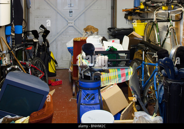 Interior of domestic garage - Stock Image