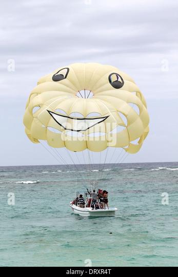 Parasailing at Bavaro beach Punta Cana Dominican Republic - Stock Image