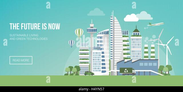 Futuristic green city with wind turbines and skyscrapers, sustainability and innovation concept - Stock Image