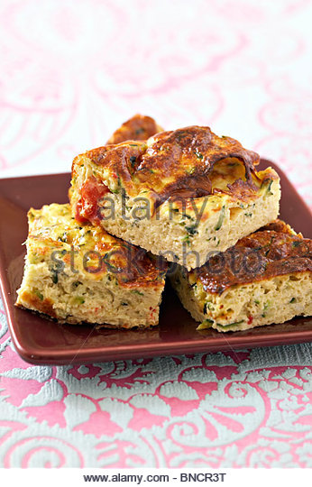 Courgette tomato omelettes - Stock Image