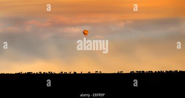 Africa, Hot Air Balloon Over African Plain - Stock-Bilder