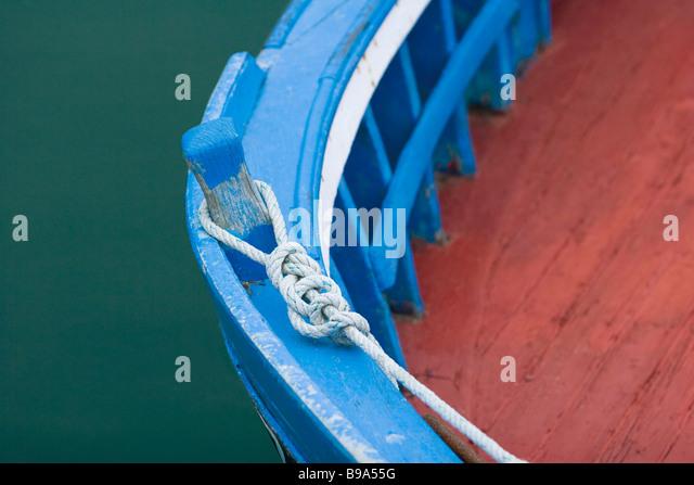 Boat moorings, close-up - Stock Image
