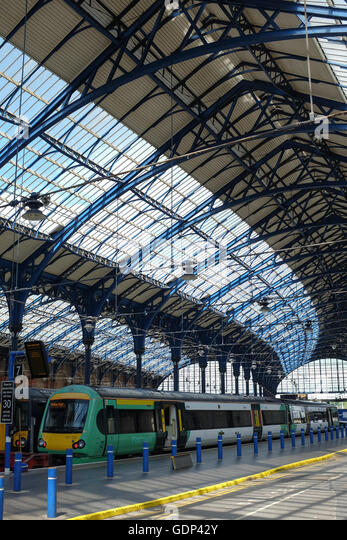 Brighton train station on the south coast of England. - Stock Image