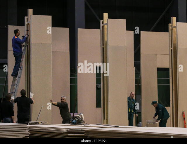 MOSCOW, RUSSIA. FEBRUARY 8, 2016. Set construction underway at Mosfilm Studios, officially Mosfilm Cinema Concern. - Stock-Bilder
