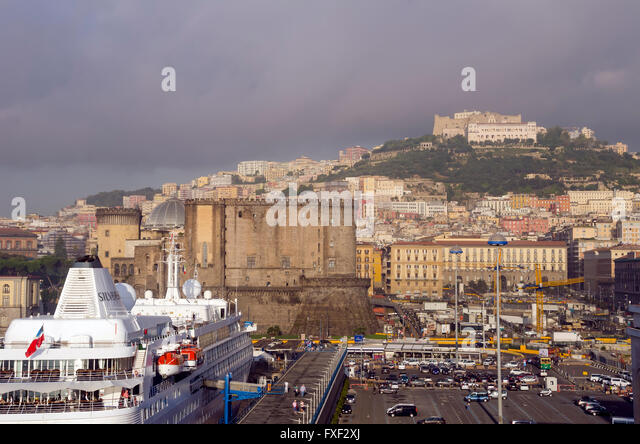 Naples Cruise Ship Terminal on a foggy morning, southern Italy. - Stock Image