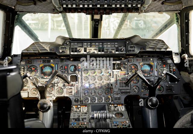 The cockpit of British Airways Concorde, G-BOAD - Stock Image