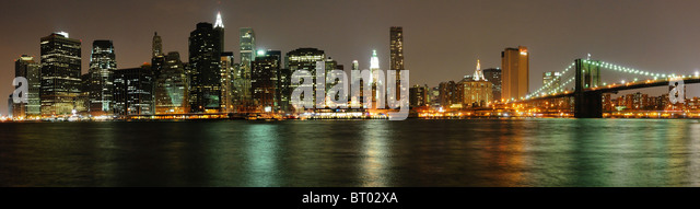 Sight of Wall Manhattan from Brooklyn, Manhattan, New-York, United-States - Stock Image