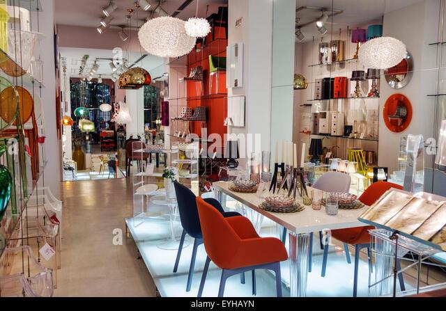 Madrid Spain Europe Spanish Recoletos Salamanca Calle de Goya El Jardin de Serrano shopping Kartell furniture design - Stock Image