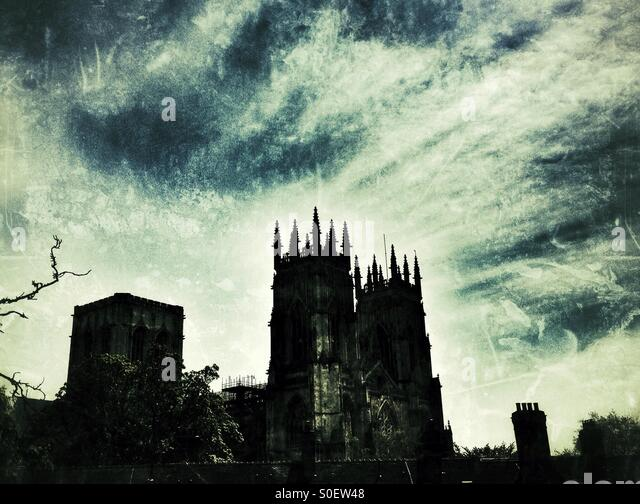 York Minster silhouette - Stock Image