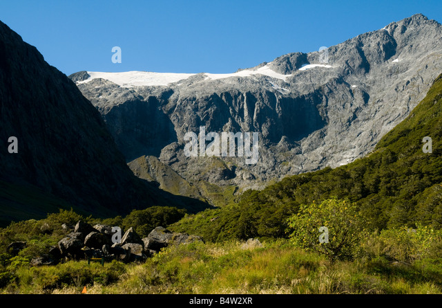 The Gertrude Valley from the track to the Gertrude Saddle, near Milford Sound, Fjordland, South Island, New Zealand - Stock Image