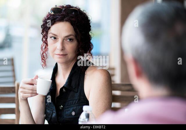 Couple in a coffee shop - Stock-Bilder