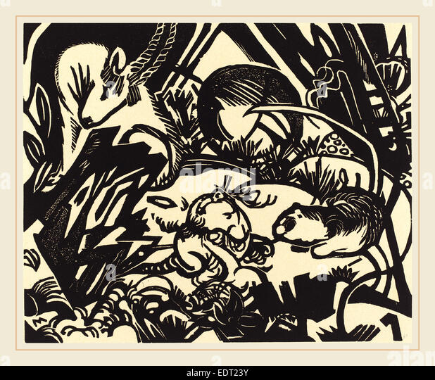 Franz Marc, Animal Legend (Tierlegende), German, 1880-1916, 1912, woodcut - Stock Image