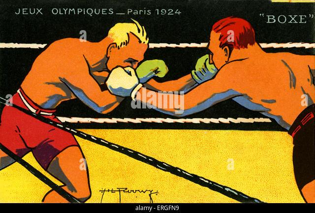Olympics   1924 Paris France. Boxers, boxing championship.  Jeux Olympiques - Stock Image