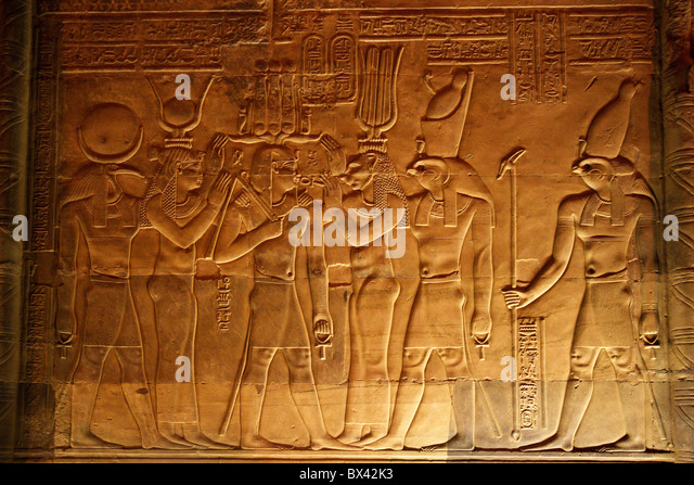 Egypt North Africa Kom Ombo temple antiquity antique cultural site relief Hieroglyphen - Stock-Bilder