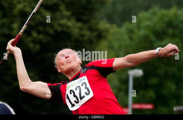 Leinefelde-Worbis, Germany. 08th July, 2016. Josef Krempl (89, Sportverein Oberderdingen) in action during the javelin - Stock Image