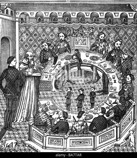 Arthur, legendary British King, circa 500 AD, at the Round Table, wood engraving, 19th century, after miniature, - Stock Image