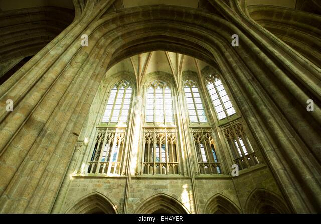 France, Manche, bay of Mont Saint Michel, listed as World Heritage by UNESCO, the Mont Saint Michel,detail of the - Stock Image