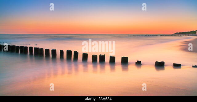 The Baltic sea after sunset, Pomerania, Poland - Stock Image