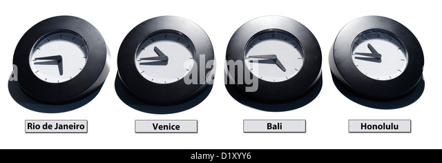 Different time zone clacks against white background - Stock Image