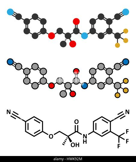 Enobosarm drug molecule. Stylized 2D renderings and conventional skeletal formula. Selective androgen receptor modulator - Stock Image
