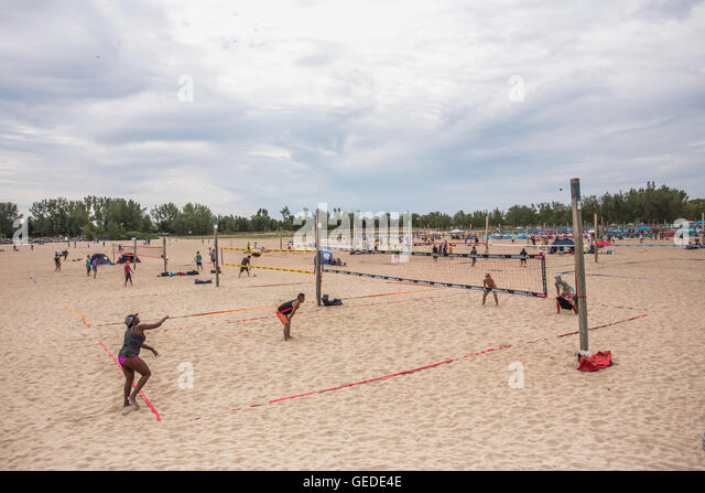 Toronto summer woodbine beach volleyball games - Stock Image