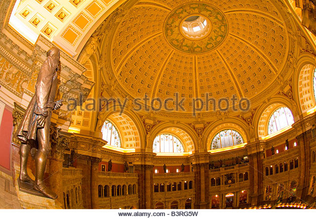 Statues of famous learned men above the Main Reading Room Thomas Jefferson Building The Library of Congress Washington - Stock-Bilder