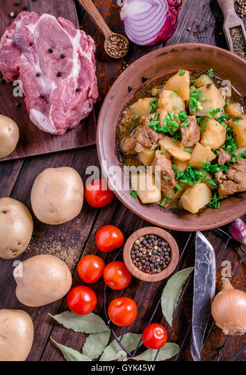 Spicy pork and potato stew rustic style - Stock Image