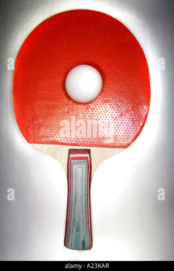 Table tennis bat and ball - Stock Image
