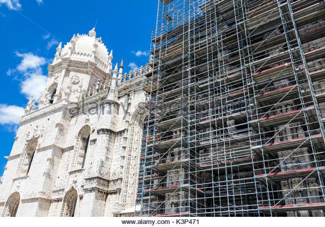 Lisbon Portugal Belem Mosteiro dos Jeronimos Jeronimos Monastery exterior Gothic Manueline architecture UNESCO World - Stock Image