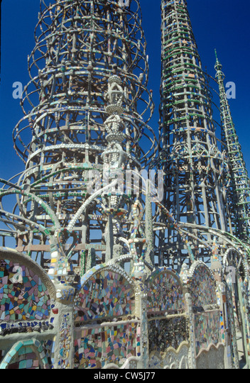 Watts Towers 20th Anniversary of the 1965 riots, Los Angeles, California - Stock Image
