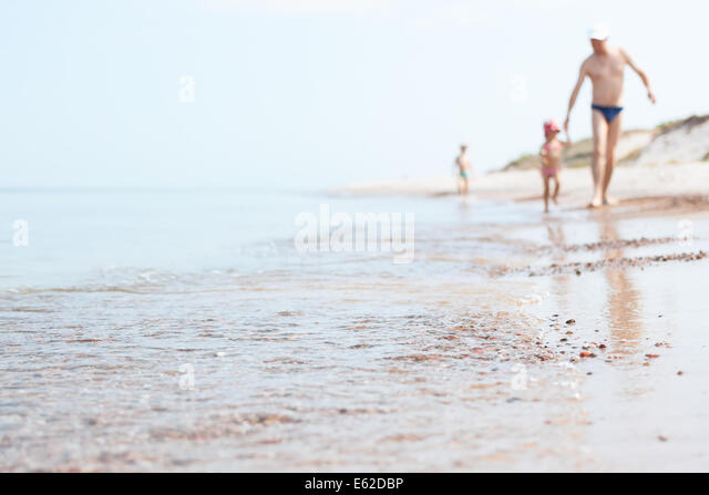 Baltic seaside and family - Stock Image