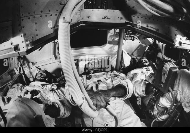 Apollo 8 astronauts, William A. Anders, James A. Lovell Jr., Frank Borman, Cape Kennedy, Florida, November 20, 1968. - Stock Image
