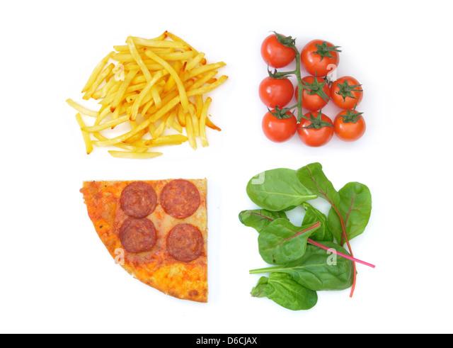 Good bad food choices - Stock Image