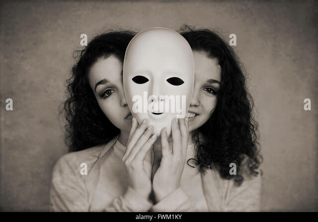 Multiple Images Of Young Woman Holding Mask - Stock Image