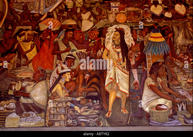 Aztecs painting stock photos aztecs painting stock for Diego rivera tenochtitlan mural