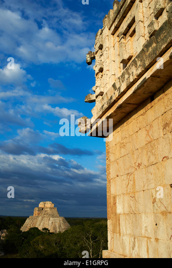Mexico, Yucatan state, Uxmal, archaeological Mayan site, world heritage of the UNESCO, Magicians Pyramid, Governor's - Stock Image