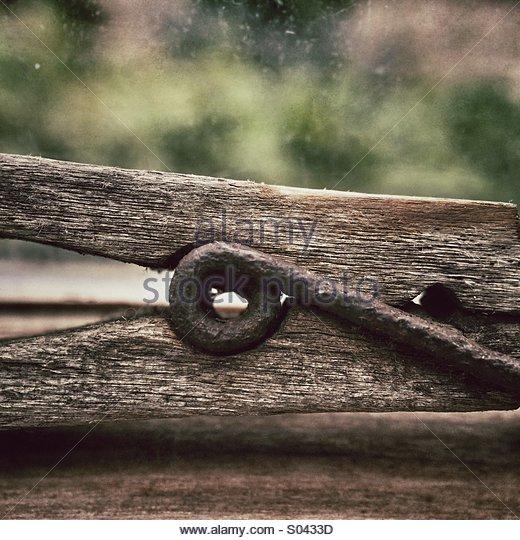 Wooden Clothes Peg Close Up - Stock-Bilder