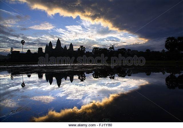 Cambodia Angkor Vat temple by sunrise - Stock Image
