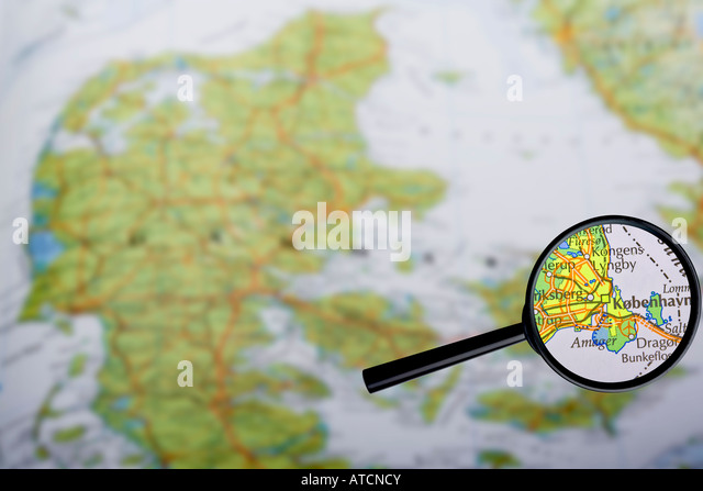 Map of Denmark with Copenhagen enlarged - Stock Image