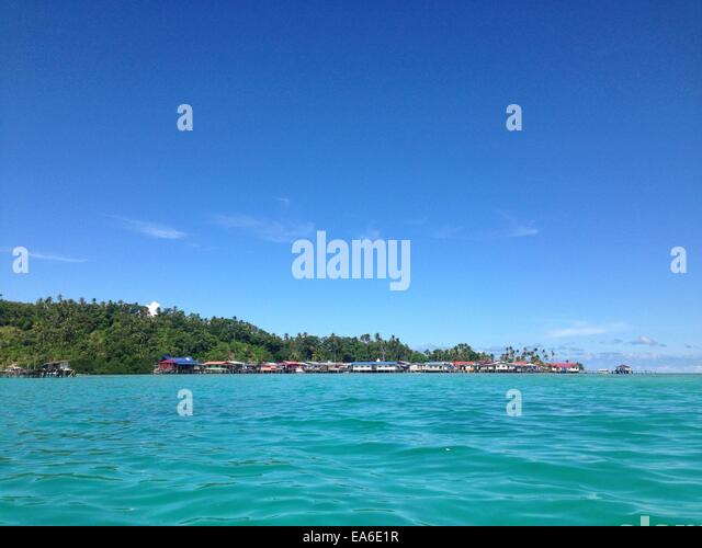 Malaysia, Sabah, Village by sea - Stock Image