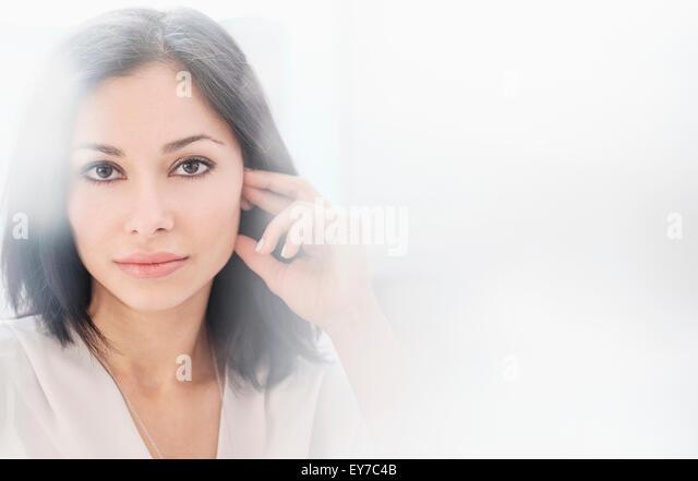 Portrait of brunette woman - Stock-Bilder