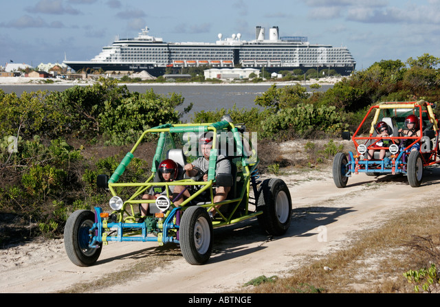 Grand Turk Hawksnest Plantation dune buggy tour vehicle Holland America Line ms Noordam - Stock Image