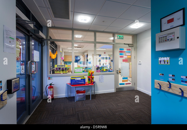 reception entrance hall at Coley Primary School, Reading - Stock Image
