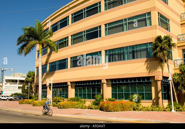 George Town Grand Cayman business district offices stores - Stock Image