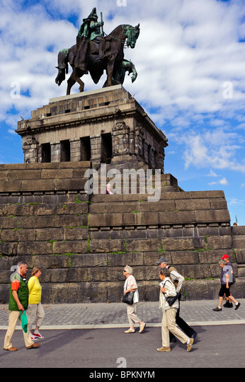 Kaiser Wilhelm Memorial at the Deutsches Eck, Koblenz, Rhineland-Palatinate, Germany, Europe - Stock-Bilder
