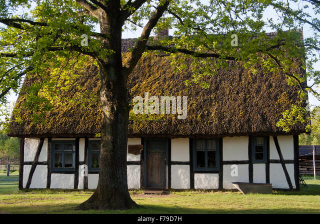 Wattle and daub cottage in Museum of Slovinic Countryside, Kluki, Poland - Stock Image
